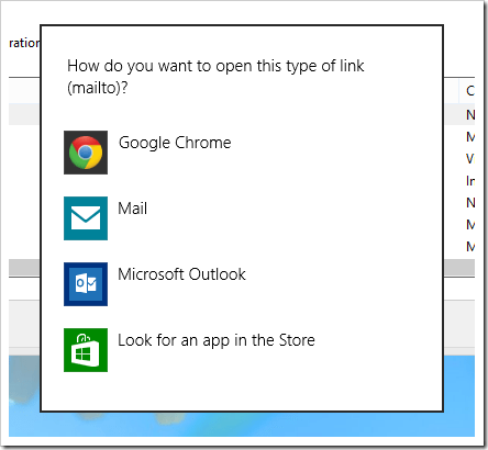 Change Default Programs MailTo popup thumb - How To Change Default MailTo Behavior in Windows 8