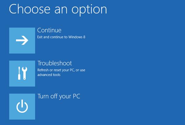 Windows 8 - advanced boot options