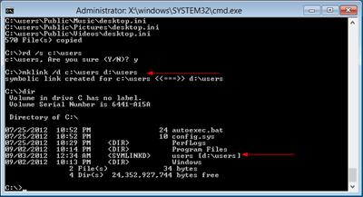 Windows 8 change default user profile mklink