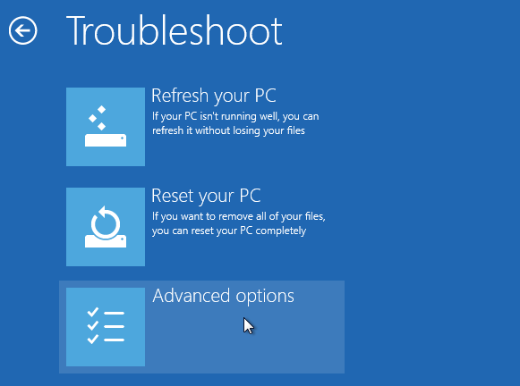 Windows 8 repair boot option - troubleshoot