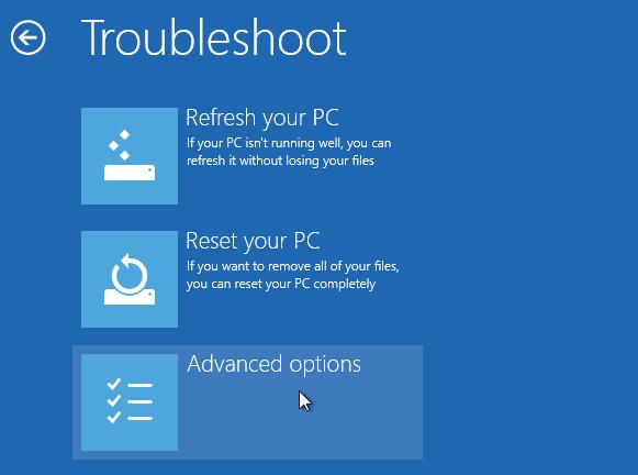 Windows 8 repair boot option - troubleshoot