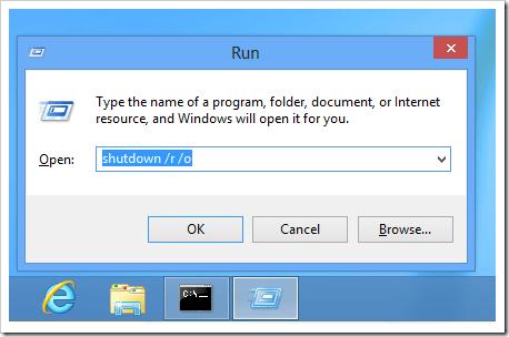 Windows 8 - shutdown to advanced boot options