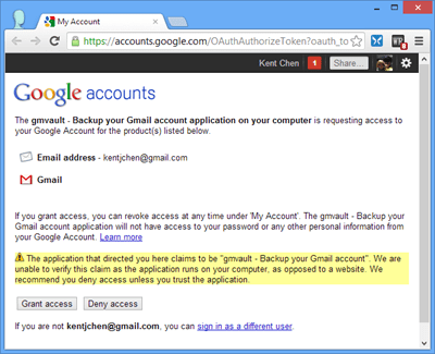 GMVault - gmail authentication