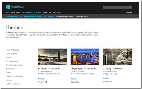 Microsoft Windows 8 Theme Page