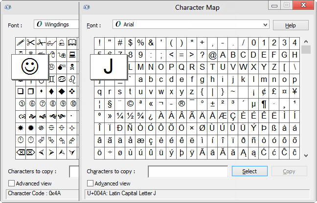 character-map smiley face