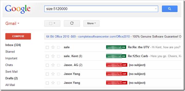 Gmail - Size Search