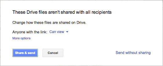 Gmail with Drive - warning
