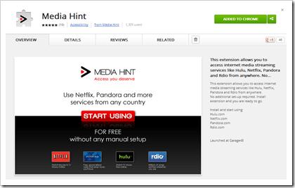 Mediahint Chrome addon