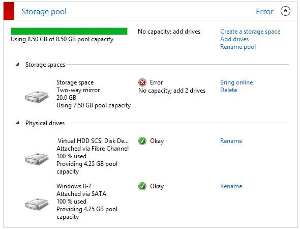 Windows 8 - Storage Pool
