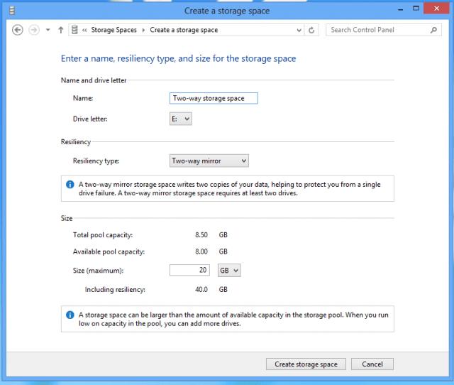 windows 8 - create a storage space