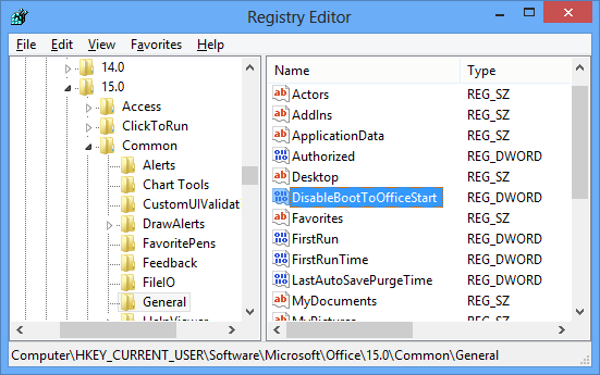 Office Disable Start Screen Registry