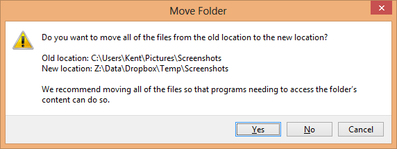 Screenshots folder - move folder confirmation