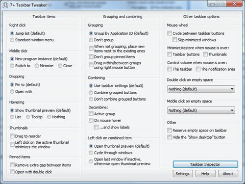 7  Taskbar Tweaker - main window