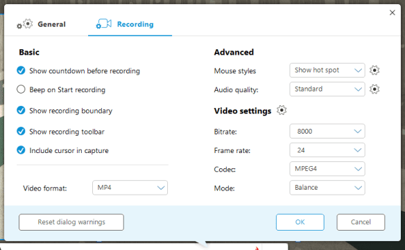 Apowersoft - recording settings