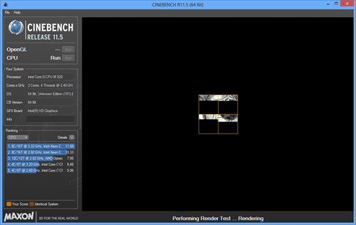 Cinebench - main windows