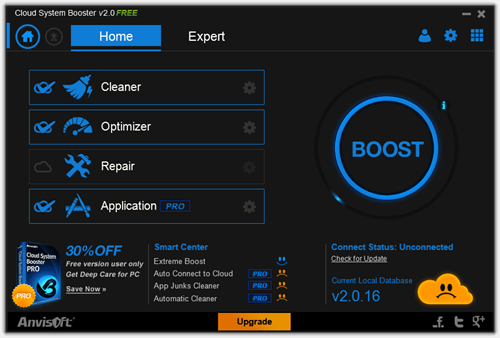 Cloud System Booster Home tab thumb - Free System Maintenance Utility: Cloud System Booster