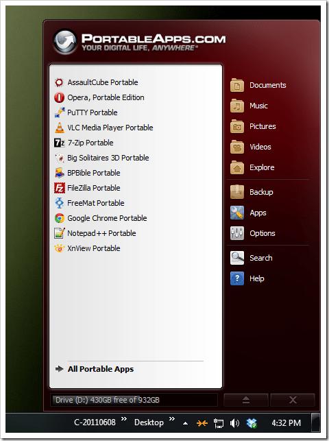 PortableApps - main screen