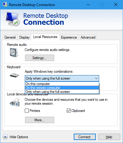 Remote Desktop Connection - Local Resources Keyboard