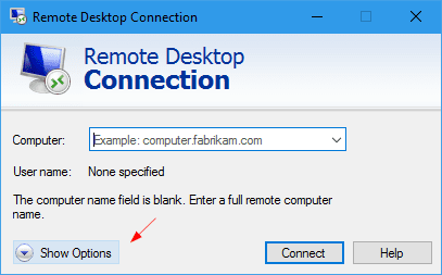 remote desktop connection show options