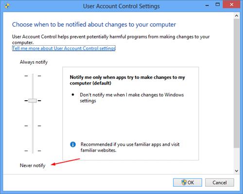 User Account Control Settings on Windows 8