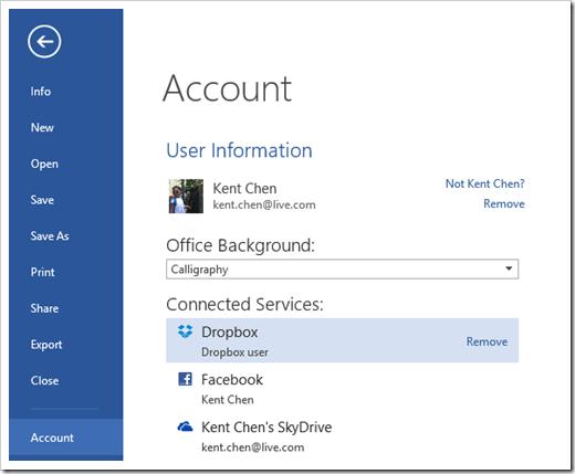Word - File - Account - remove