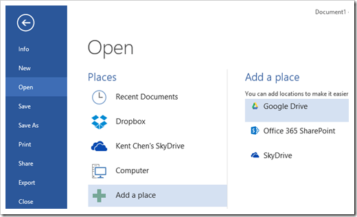 How To Integrate Dropbox and Google Drive into Microsoft Office 2013