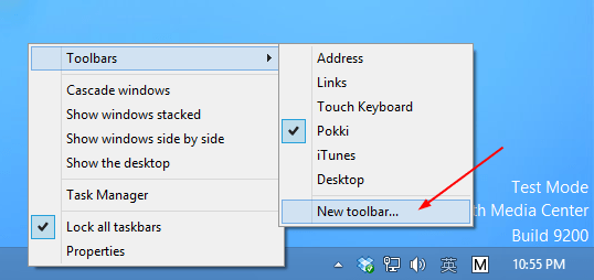 New Toolbar on Taskbar
