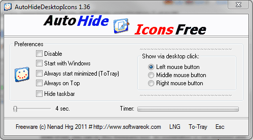 Auto Hide Desktop Icons FREE
