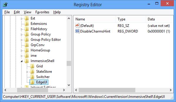 Charm Bar - hint version registry hack