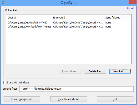 CryptSync - main window