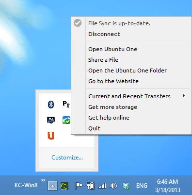 Ubuntu One system tray option