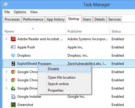 Task Manager - Startup