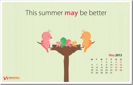 may 13 bettersummer may preview thumb - Download Smashing Magazine Desktop Wallpaper Calendar May 2013 Windows 7/8 Theme