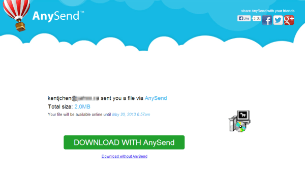 AnySend - download page