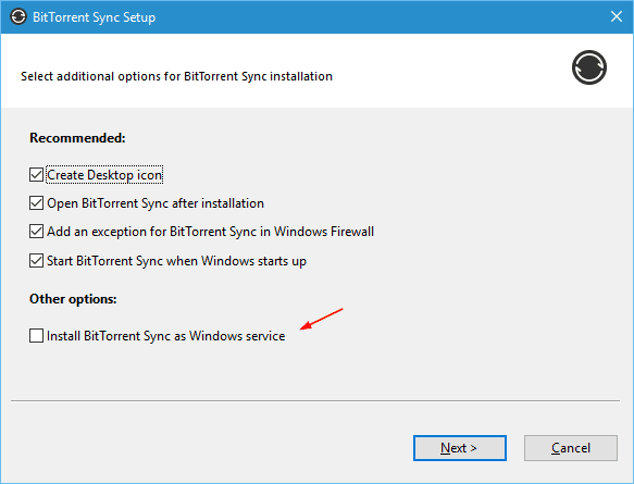 BitTorrent Sync - installation option
