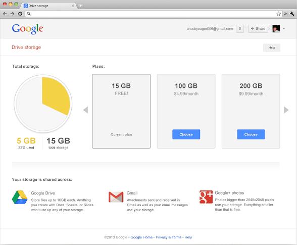 Google Drive Storage - unified plan