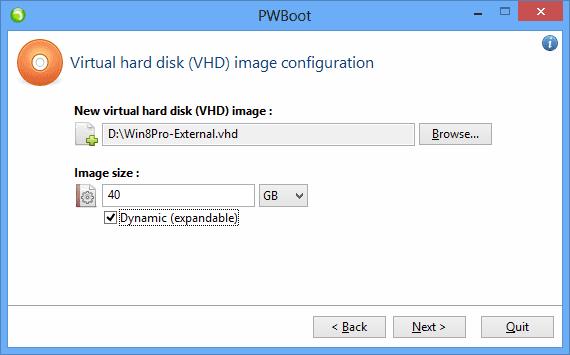 PWBoot - step 4 - create VHD image