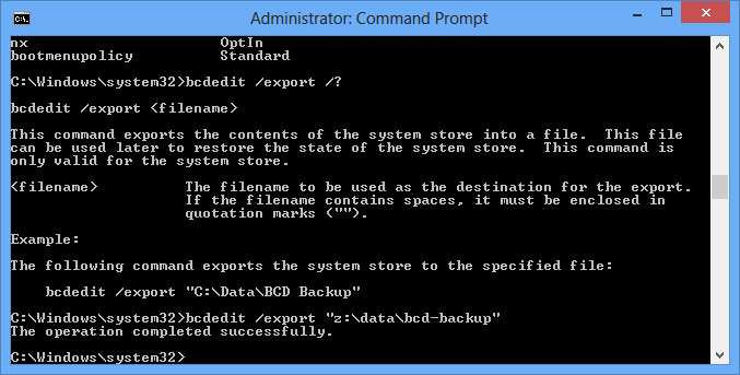 bcdedit export command - How To Backup and Restore BCD Store in Windows