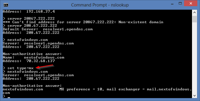 nslookup set type mx - Troubleshooting Network Problems with Command Line NSLookup