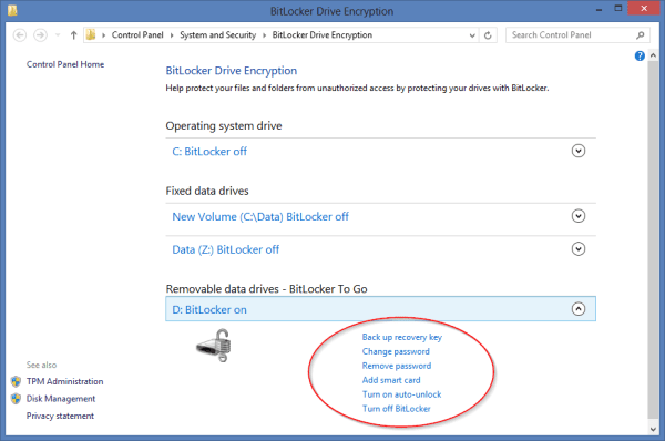 BitLocker to Go - Encrypted drive status