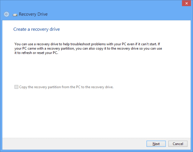 Figure 2 - the main screen of creating a recovery drive.