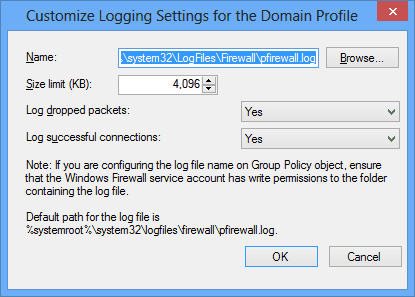 Customize Logging Settings for the Domain Profile - Tracking Firewall Activity with A Windows 8 Firewall Log