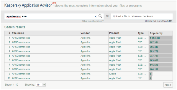 Kaspersky Application Advisor - search result