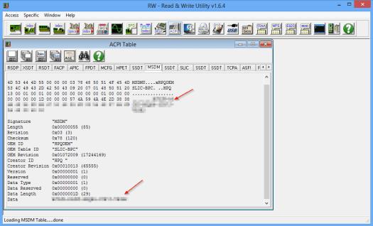 RWEverything to extrieve windows 8 key from BIOS