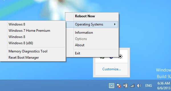 Reboot-To - main screen