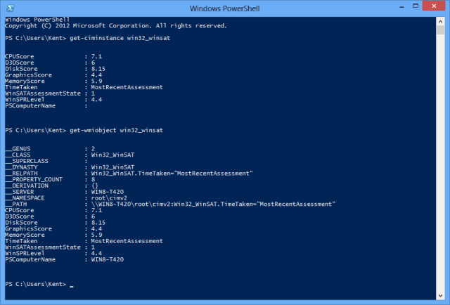 Figure 2 - Get-CimInstance and Get-WmiObject cmdlets