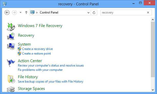 Pic 1 - launch Create recovery drive from control panel