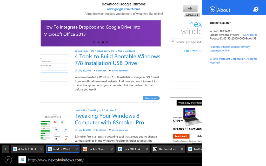 5 Cool Tricks You Can Do Only With IE 11 on Windows 8 1 - Next of