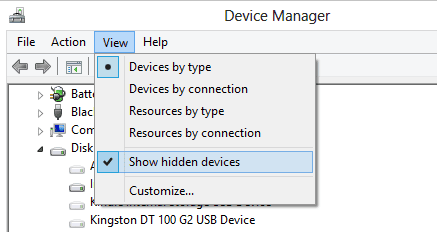 Figure 1 - show hidden devices option