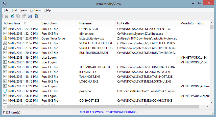 LastActivityView 2013 08 16 13 22 38 - See A Log of What's Happened on Your Computer with LastActivityView